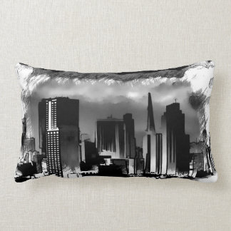 Chicago Skyline Sketch in Black and White Lumbar Pillow
