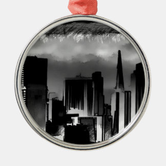 Chicago Skyline Sketch in Black and White Metal Ornament
