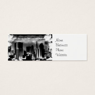 Chicago Skyline Sketch in Black and White Mini Business Card