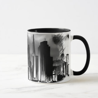 Chicago Skyline Sketch in Black and White Mug