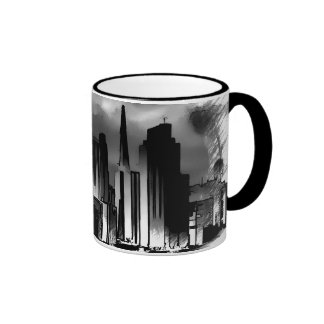Chicago Skyline Sketch in Black and White Coffee Mug