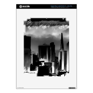 Chicago Skyline Sketch in Black and White Skins For iPad 3