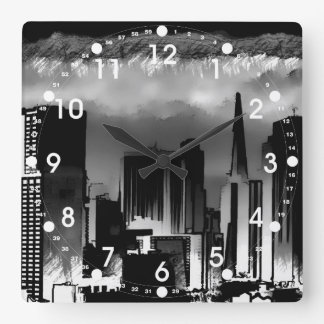 Chicago Skyline Sketch in Black and White Square Wall Clock