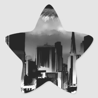 Chicago Skyline Sketch in Black and White Star Sticker
