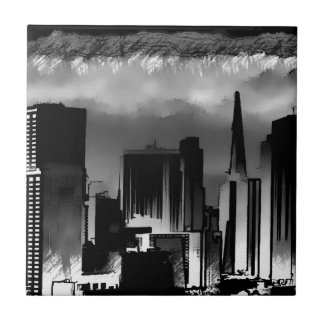 Chicago Skyline Sketch in Black and White Tile