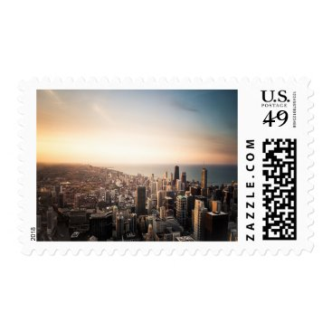 USA Themed Chicago Skyline Skyscraper Buildings Sea Stamp