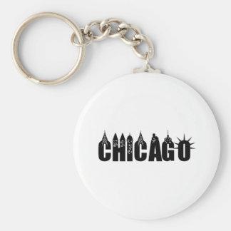 Chicago Skyline Skyscraper City Pride Basic Round Button Keychain