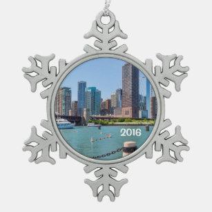 chicago skyline snowflake pewter christmas ornament - Chicago Christmas Ornament