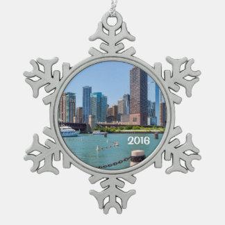 Chicago Skyline Snowflake Pewter Christmas Ornament