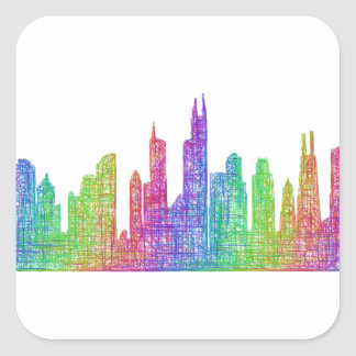Chicago skyline square sticker