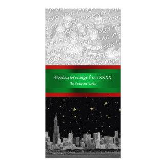 Chicago Skyline Starry Night Xmas Photocard Personalized Photo Card