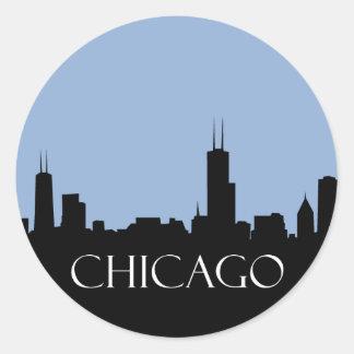 Chicago Skyline Classic Round Sticker