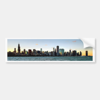 Chicago Skyline Sunset Car Bumper Sticker