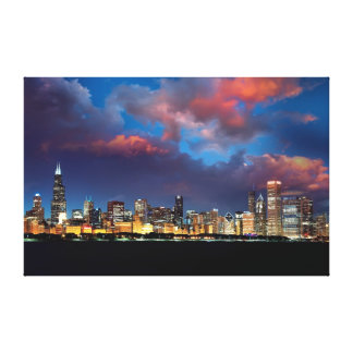 Chicago Skyline Sunset Stretched Canvas Print