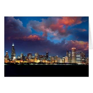 Chicago Skyline Sunset Card