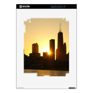Chicago Skyline Sunset Decals For iPad 2