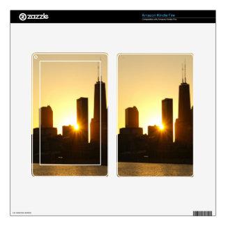 Chicago Skyline Sunset Kindle Fire Skins