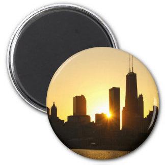 Chicago Skyline Sunset 2 Inch Round Magnet