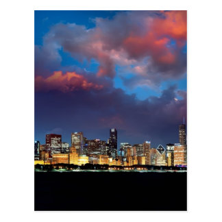 Chicago Skyline Sunset Postcard