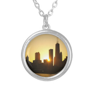 Chicago Skyline Sunset Silver Plated Necklace