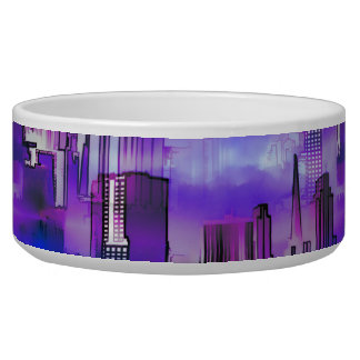 Chicago Skyline Urban Art in Purple and Blue Bowl