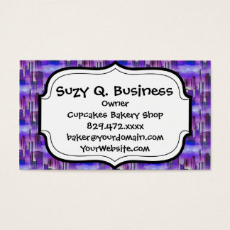 Chicago Skyline Urban Art in Purple and Blue Business Card