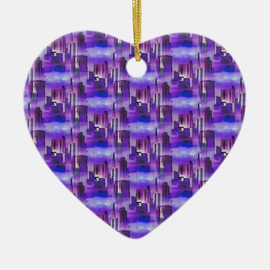 Chicago Skyline Urban Art in Purple and Blue Ceramic Ornament
