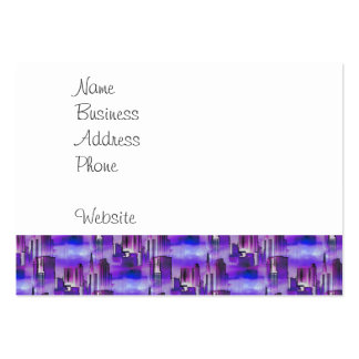 Chicago Skyline Urban Art in Purple and Blue Large Business Cards (Pack Of 100)