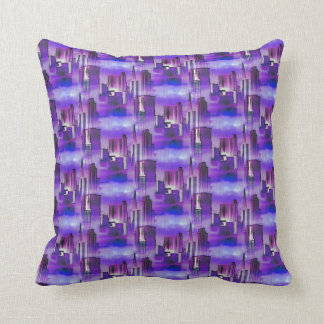 Chicago Skyline Urban Art in Purple and Blue Pillow