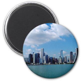 Chicago skyline view from Navy Pier 2 Inch Round Magnet