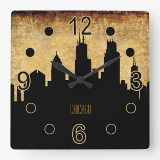 Chicago Skyline | Vintage Grunge Style Square Wall Clock