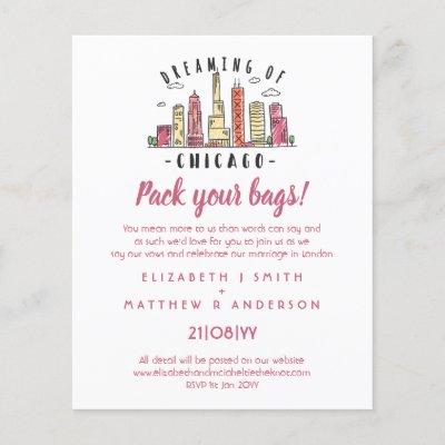 CHICAGO Skyline Wedding Invitation Handdrawn Budge