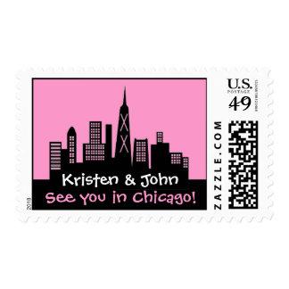 Chicago Skyline Wedding Stamp