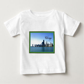 Chicago Skyline with Classic Green Border Baby T-Shirt
