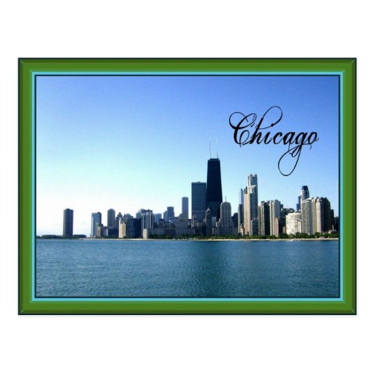 Chicago Skyline with Classic Green Border Postcard