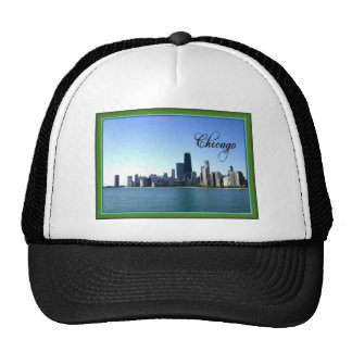 Chicago Skyline with Classic Green Border Trucker Hat