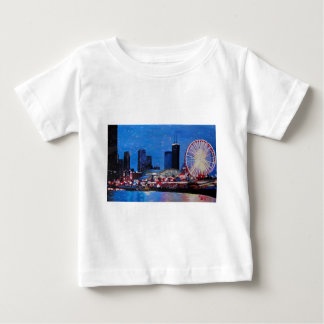 Chicago Skyline with Ferris Wheel Baby T-Shirt