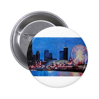 Chicago Skyline with Ferris Wheel Pinback Button