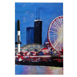 Chicago Skyline with Ferris Wheel Dry-Erase Board