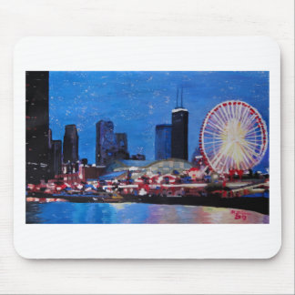 Chicago Skyline with Ferris Wheel Mouse Pad