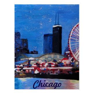 Chicago Skyline with Ferris Wheel Postcard