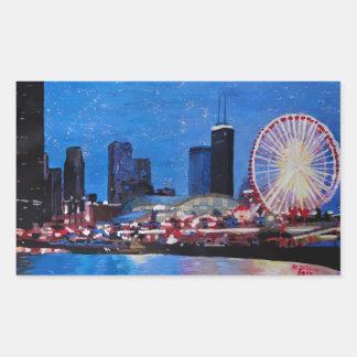 Chicago Skyline with Ferris Wheel Rectangular Stickers