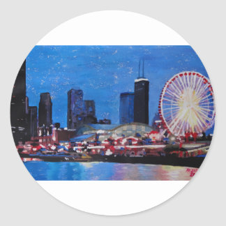 Chicago Skyline with Ferris Wheel Round Sticker