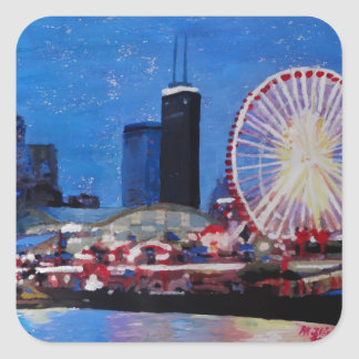 Chicago Skyline with Ferris Wheel Square Stickers
