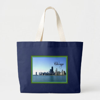 Chicago Skyline with Green Border Large Tote Bag