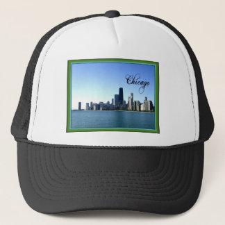 Chicago Skyline with Green Border Trucker Hat