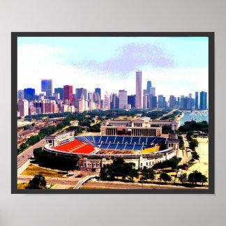Chicago Skyline Wrigley Field Poster