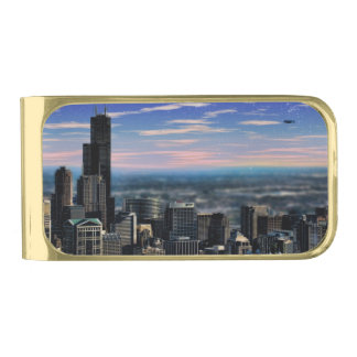 Chicago Skyview Gold Finish Money Clip