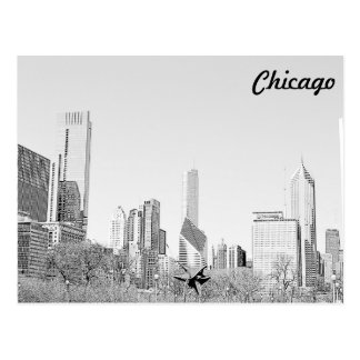 Chicago Stencil Skyline Postcard