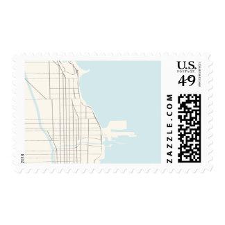 Chicago Street Map Modern Postage Stamp